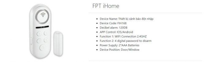FPT iHome Thiết bị cảnh báo đột nhập